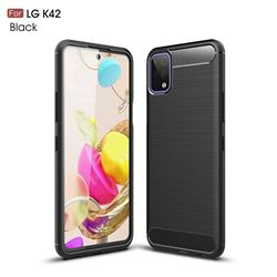 Luxury Carbon Fiber Brushed Wire Drawing Silicone TPU Back Cover for LG K42 - Black