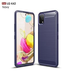 Luxury Carbon Fiber Brushed Wire Drawing Silicone TPU Back Cover for LG K42 - Navy