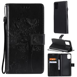 Embossing Butterfly Tree Leather Wallet Case for LG K42 - Black