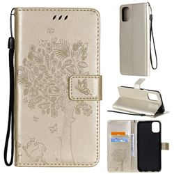 Embossing Butterfly Tree Leather Wallet Case for LG K42 - Champagne