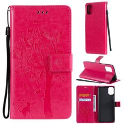 Embossing Butterfly Tree Leather Wallet Case for LG K42 - Rose