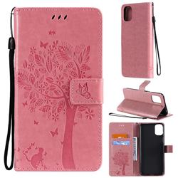 Embossing Butterfly Tree Leather Wallet Case for LG K42 - Pink