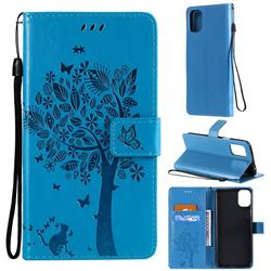 Embossing Butterfly Tree Leather Wallet Case for LG K42 - Blue