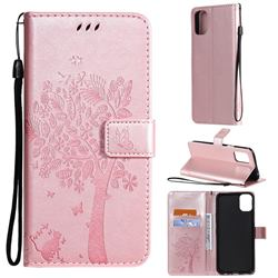 Embossing Butterfly Tree Leather Wallet Case for LG K42 - Rose Pink