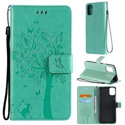 Embossing Butterfly Tree Leather Wallet Case for LG K42 - Cyan