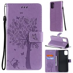 Embossing Butterfly Tree Leather Wallet Case for LG K42 - Violet