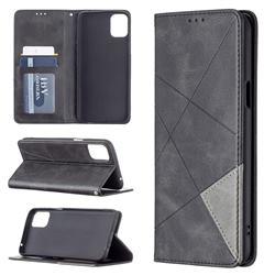 Prismatic Slim Magnetic Sucking Stitching Wallet Flip Cover for LG K42 - Black