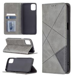 Prismatic Slim Magnetic Sucking Stitching Wallet Flip Cover for LG K42 - Gray