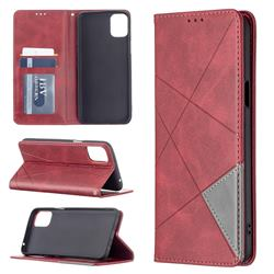 Prismatic Slim Magnetic Sucking Stitching Wallet Flip Cover for LG K42 - Red