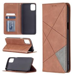 Prismatic Slim Magnetic Sucking Stitching Wallet Flip Cover for LG K42 - Brown
