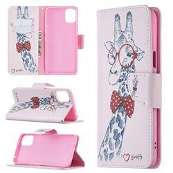 Glasses Giraffe Leather Wallet Case for LG K42