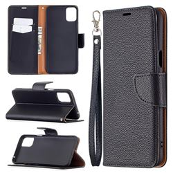 Classic Luxury Litchi Leather Phone Wallet Case for LG K42 - Black