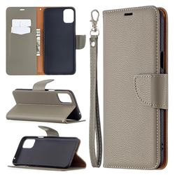 Classic Luxury Litchi Leather Phone Wallet Case for LG K42 - Gray
