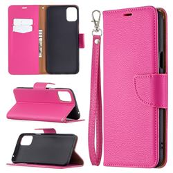 Classic Luxury Litchi Leather Phone Wallet Case for LG K42 - Rose