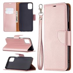Classic Luxury Litchi Leather Phone Wallet Case for LG K42 - Golden