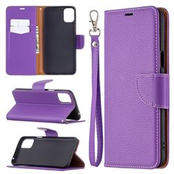 Classic Luxury Litchi Leather Phone Wallet Case for LG K42 - Purple