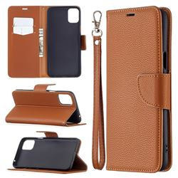 Classic Luxury Litchi Leather Phone Wallet Case for LG K42 - Brown