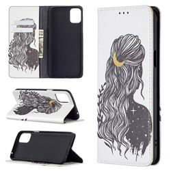 Girl with Long Hair Slim Magnetic Attraction Wallet Flip Cover for LG K42