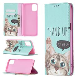Hand Up Cat Slim Magnetic Attraction Wallet Flip Cover for LG K42