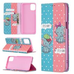 Elephant Boy and Girl Slim Magnetic Attraction Wallet Flip Cover for LG K42