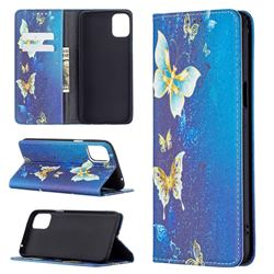 Gold Butterfly Slim Magnetic Attraction Wallet Flip Cover for LG K42