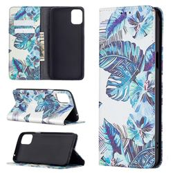 Blue Leaf Slim Magnetic Attraction Wallet Flip Cover for LG K42