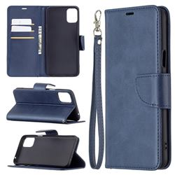 Classic Sheepskin PU Leather Phone Wallet Case for LG K42 - Blue