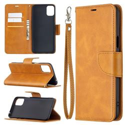 Classic Sheepskin PU Leather Phone Wallet Case for LG K42 - Yellow