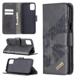 BinfenColor BF04 Color Block Stitching Crocodile Leather Case Cover for LG K42 - Black