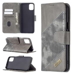 BinfenColor BF04 Color Block Stitching Crocodile Leather Case Cover for LG K42 - Gray