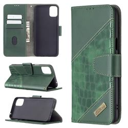 BinfenColor BF04 Color Block Stitching Crocodile Leather Case Cover for LG K42 - Green