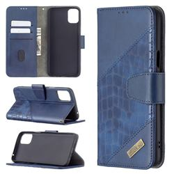 BinfenColor BF04 Color Block Stitching Crocodile Leather Case Cover for LG K42 - Blue