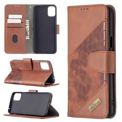 BinfenColor BF04 Color Block Stitching Crocodile Leather Case Cover for LG K42 - Brown