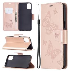 Embossing Double Butterfly Leather Wallet Case for LG K42 - Rose Gold