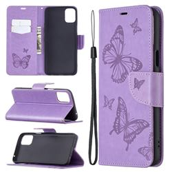 Embossing Double Butterfly Leather Wallet Case for LG K42 - Purple