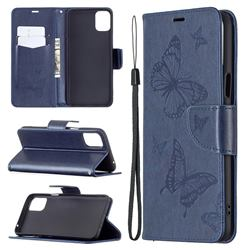 Embossing Double Butterfly Leather Wallet Case for LG K42 - Dark Blue