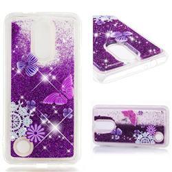 Purple Flower Butterfly Dynamic Liquid Glitter Quicksand Soft TPU Case for LG K4 (2017) M160 Phoenix3 Fortune