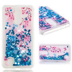 Blue Plum Blossom Dynamic Liquid Glitter Quicksand Soft TPU Case for LG K4 (2017) M160 Phoenix3 Fortune