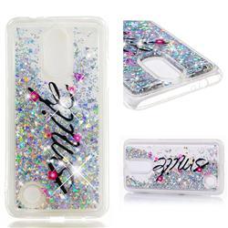 Smile Flower Dynamic Liquid Glitter Quicksand Soft TPU Case for LG K4 (2017) M160 Phoenix3 Fortune