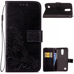 Embossing Imprint Four-Leaf Clover Leather Wallet Case for LG K4 (2017) M160 Phoenix3 Fortune - Black