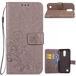 Embossing Imprint Four-Leaf Clover Leather Wallet Case for LG K4 (2017) M160 Phoenix3 Fortune - Grey