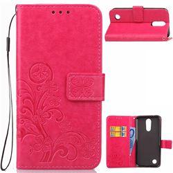 Embossing Imprint Four-Leaf Clover Leather Wallet Case for LG K4 (2017) M160 Phoenix3 Fortune - Rose