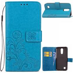 Embossing Imprint Four-Leaf Clover Leather Wallet Case for LG K4 (2017) M160 Phoenix3 Fortune - Blue
