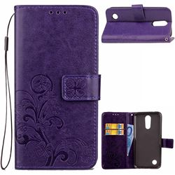 Embossing Imprint Four-Leaf Clover Leather Wallet Case for LG K4 (2017) M160 Phoenix3 Fortune - Purple