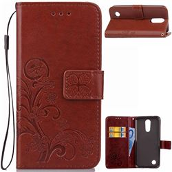 Embossing Imprint Four-Leaf Clover Leather Wallet Case for LG K4 (2017) M160 Phoenix3 Fortune - Brown