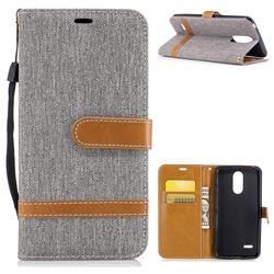 Jeans Cowboy Denim Leather Wallet Case for LG K4 (2017) M160 Phoenix3 Fortune - Gray