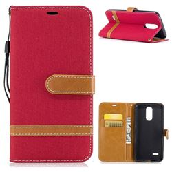 Jeans Cowboy Denim Leather Wallet Case for LG K4 (2017) M160 Phoenix3 Fortune - Red