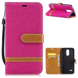 Jeans Cowboy Denim Leather Wallet Case for LG K4 (2017) M160 Phoenix3 Fortune - Rose