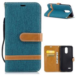 Jeans Cowboy Denim Leather Wallet Case for LG K4 (2017) M160 Phoenix3 Fortune - Green