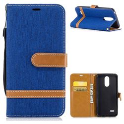 Jeans Cowboy Denim Leather Wallet Case for LG K4 (2017) M160 Phoenix3 Fortune - Sapphire